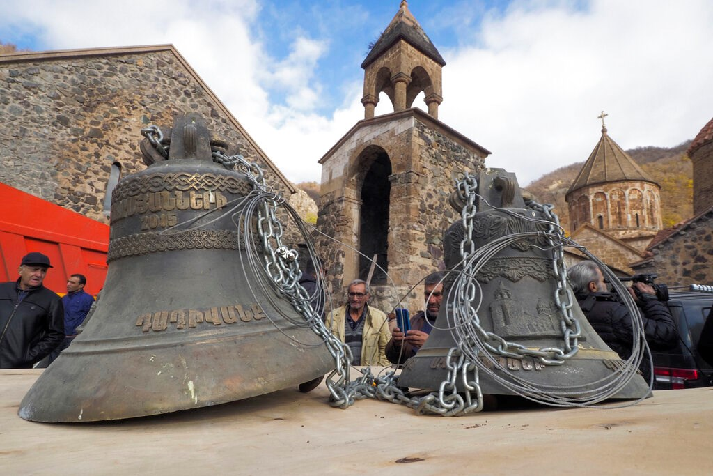 Bells removed from the Dadivank, an Armenian Apostolic Church monastery dating to the ninth century, as ethnic Armenians leave the separatist region of Nagorno-Karabakh to Armenia on Nov. 14.