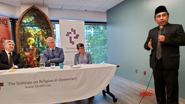Pak Yahya (right) and Thomas K. Johnson (middle) speak at a July 2019 side event to the Second Ministerial in Support of Religious Freedom in Washington DC.
