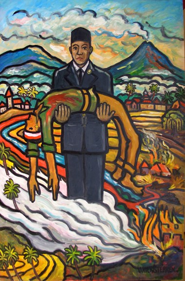 """Sri Ayati's Legacy"" embodies Muslim-Christian friendship by depicting Sukarno, the leader of Indonesia's fight for independence, holding the dead body of a fallen Christian comrade."