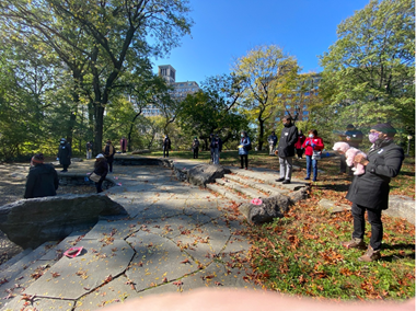 Gathering in the park.