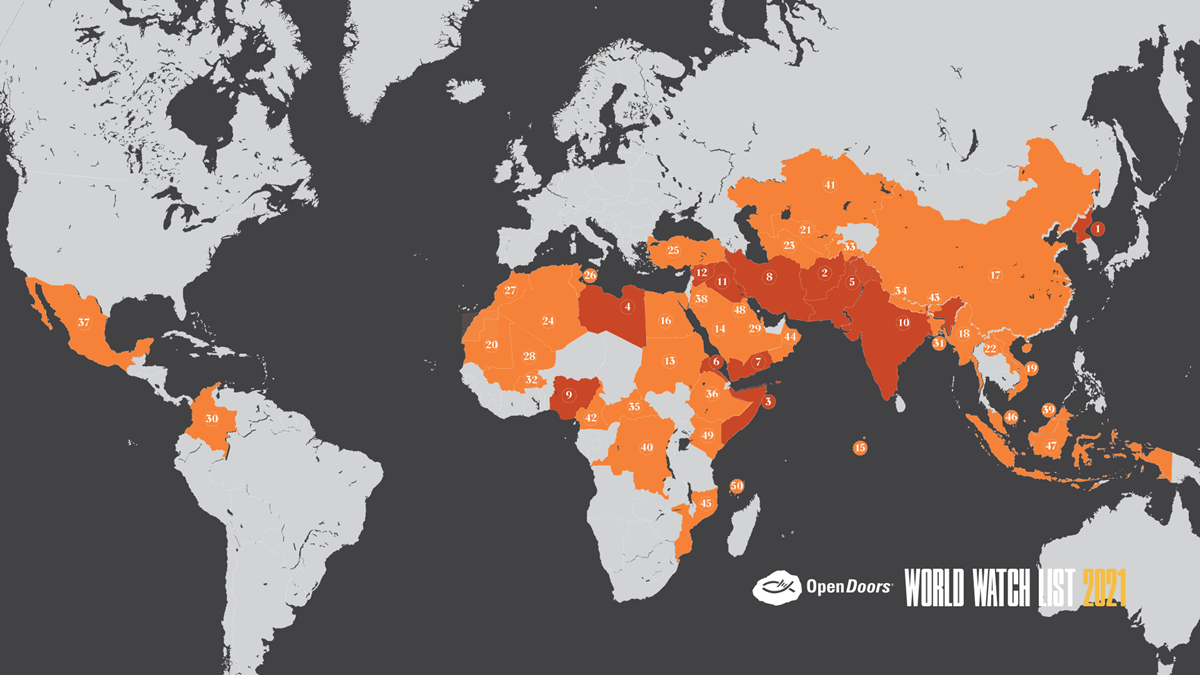 Map of the 50 countries where persecution of Christians is worst.