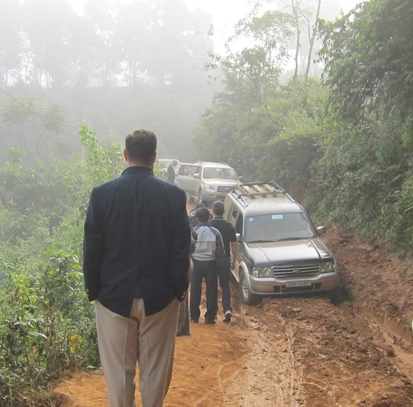 Attempting to reach a house church in a White Hmong village in the Northwest Highlands of Vietnam in December 2010.