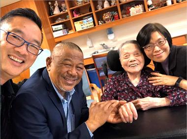 Grandma Kwong, full of her trademark joy.