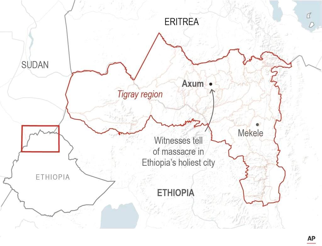 Location map of Axum, Ethiopia