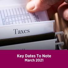Key Tax Dates March 2021