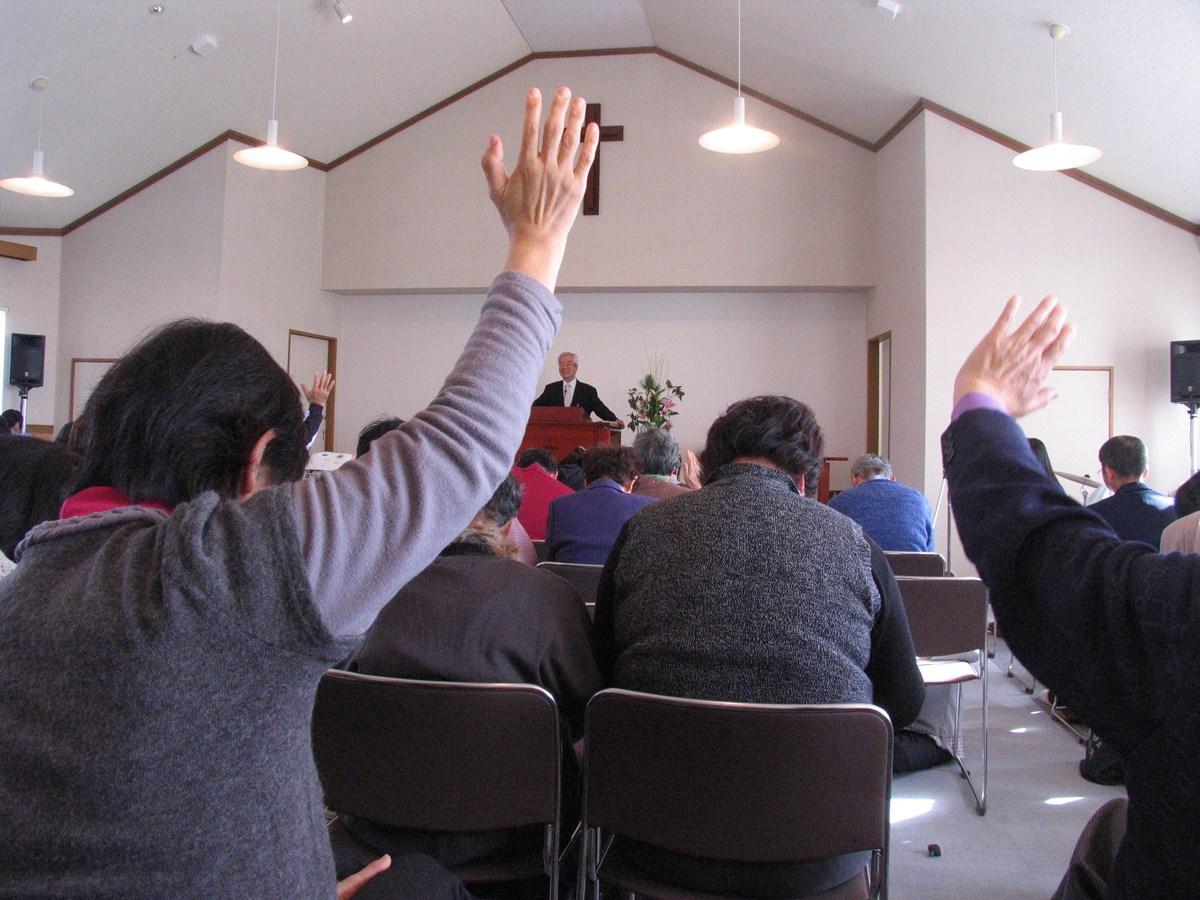 A church service at Shiogama Bible Baptist Church in Sendai in 2012.