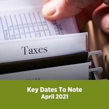 Key Tax Dates April 2021