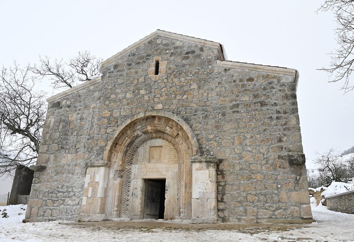 St. Astvatsatsin Church in Nagorno-Karabakh during March 2021 visit by Azerbaijan President Ilhan Aliyev.