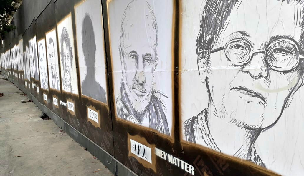 The #TheyMatter street art gallery in Beirut honors 204 explosion victims.