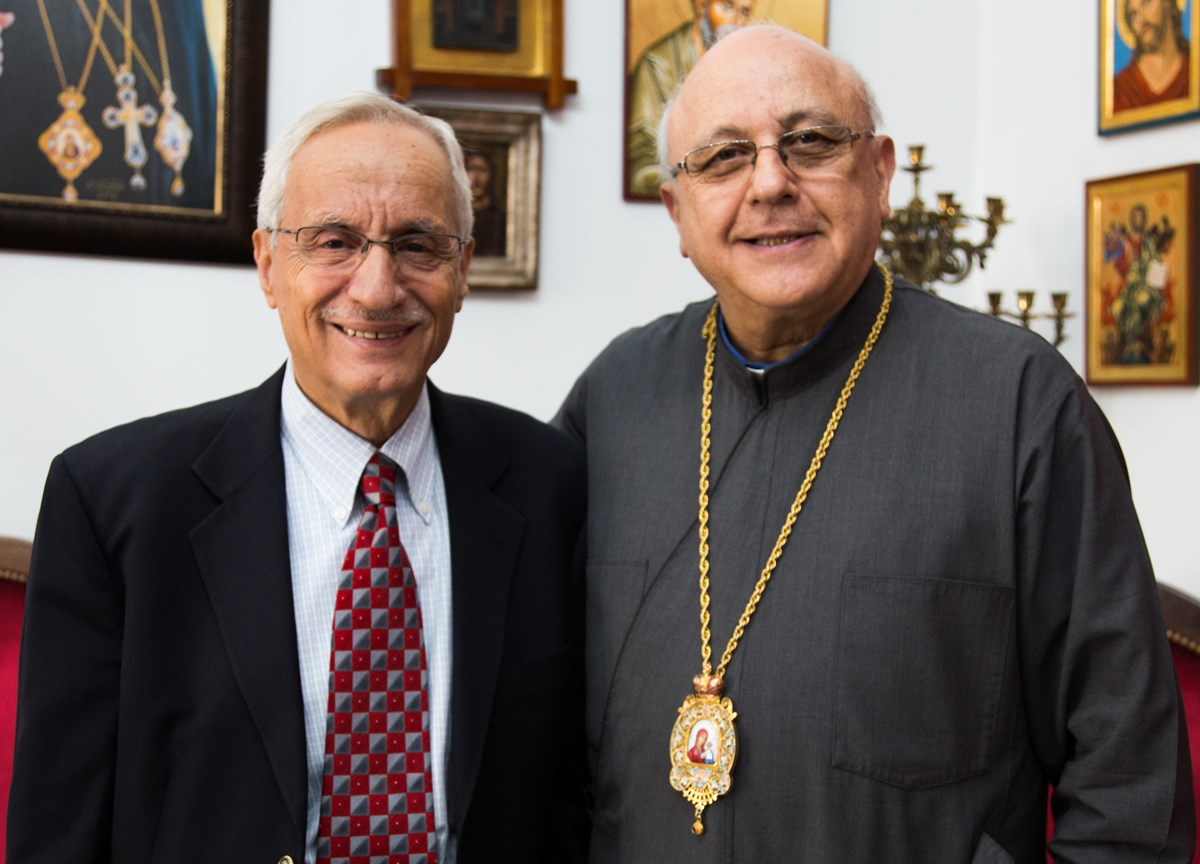 Jean Bouchebel and Archbishop Issam John Darwish of the Melkite Catholic Eparchy of Zahle and the Bekaa, Lebanon.