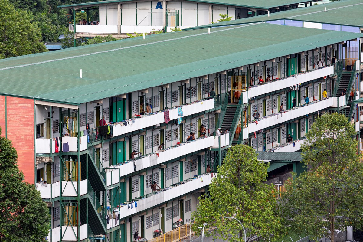 Migrant workers in Singapore at the Cochrane Lodge II, a purpose-built dormitory designated as an isolation area in April 2020.