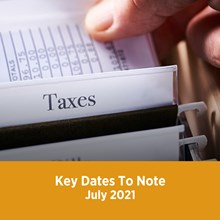 Key Tax Dates July 2021