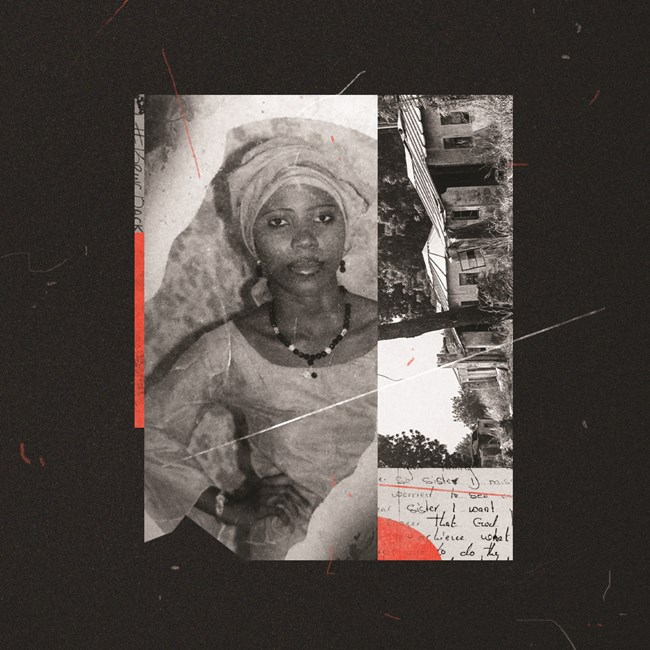 Naomi Adamu, a torched Nigerian village, and an excerpt from a letter written by Naomi in captivity