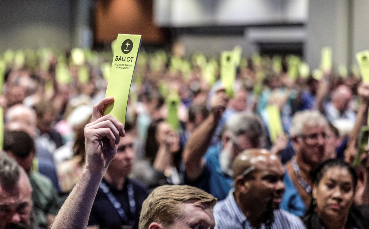 Delegates vote at the Southern Baptist Convention's 2021 annual meeting in Nashville.