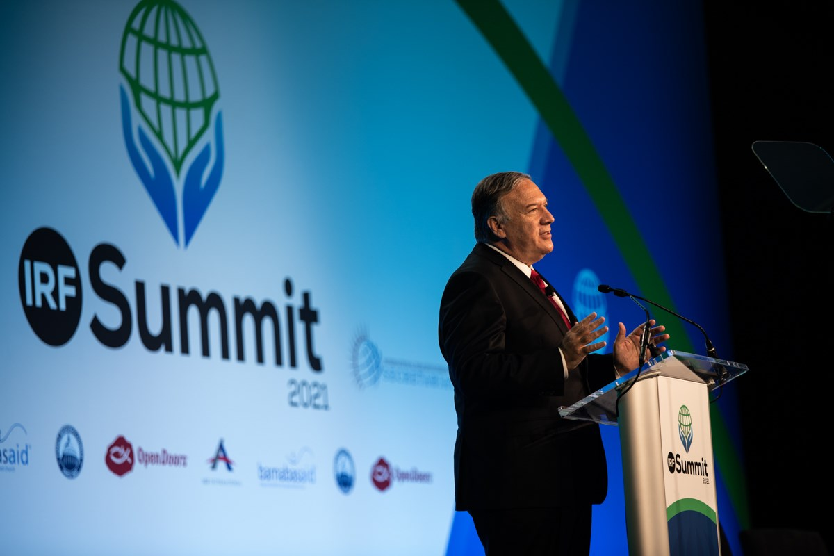 Former Secretary of State Mike Pompeo speaks at the 2021 International Religious Freedom Summit in Washington.
