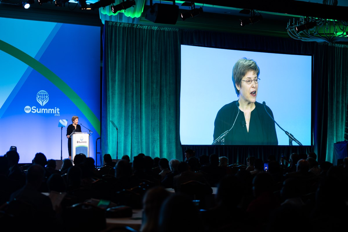 Melissa Rogers speaks at the 2021 International Religious Freedom Summit in Washington.