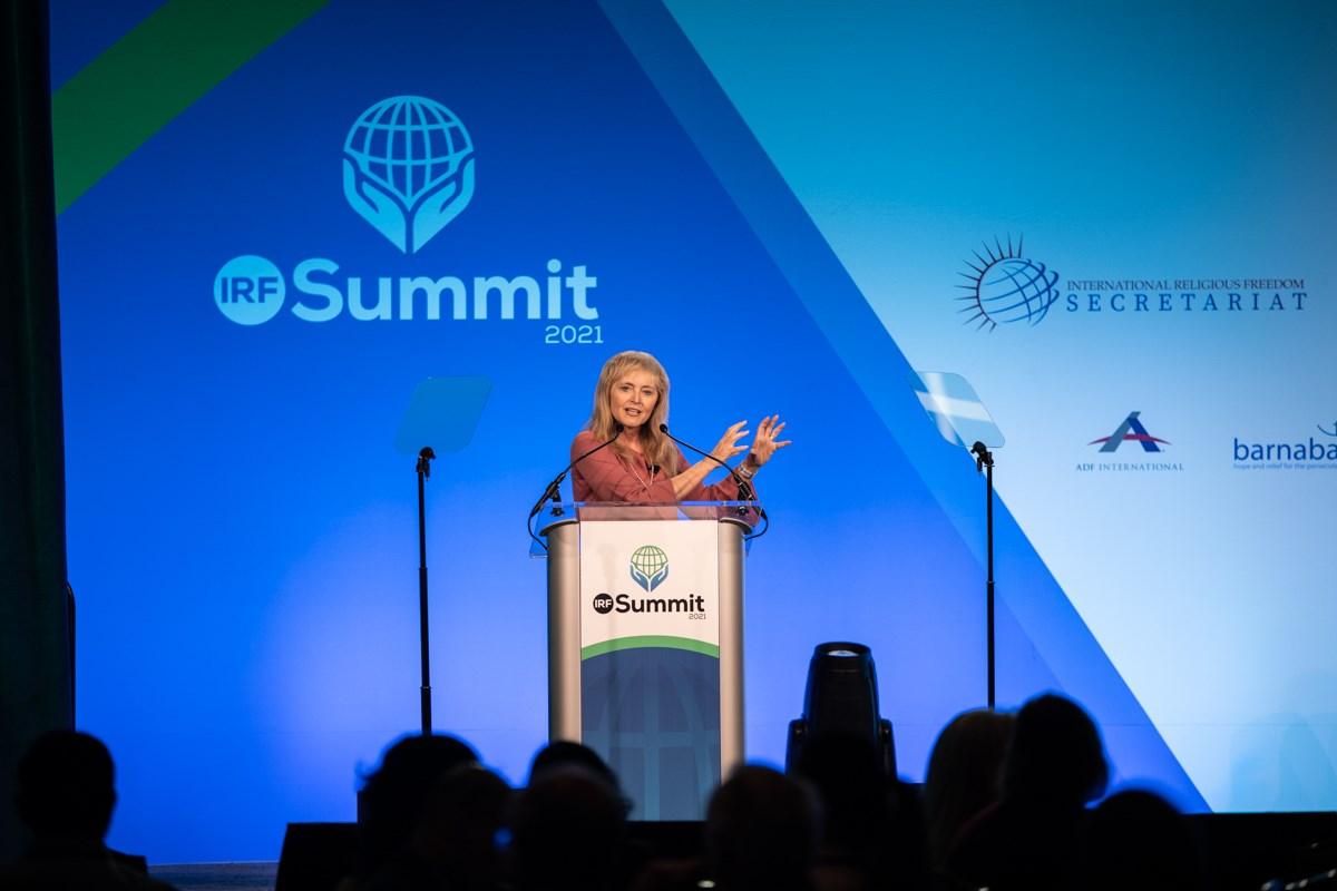 Katrina Lantos Swett speaks at the 2021 International Religious Freedom Summit in Washington.
