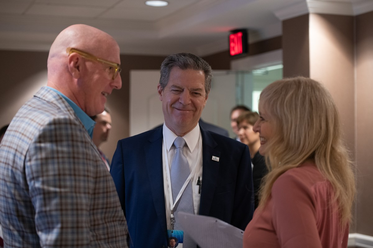 Co-chairs Sam Brownback (middle) and Katrina Lantos Swett (right) with Open Doors president David Curry (left) at the 2021 International Religious Freedom Summit in Washington.