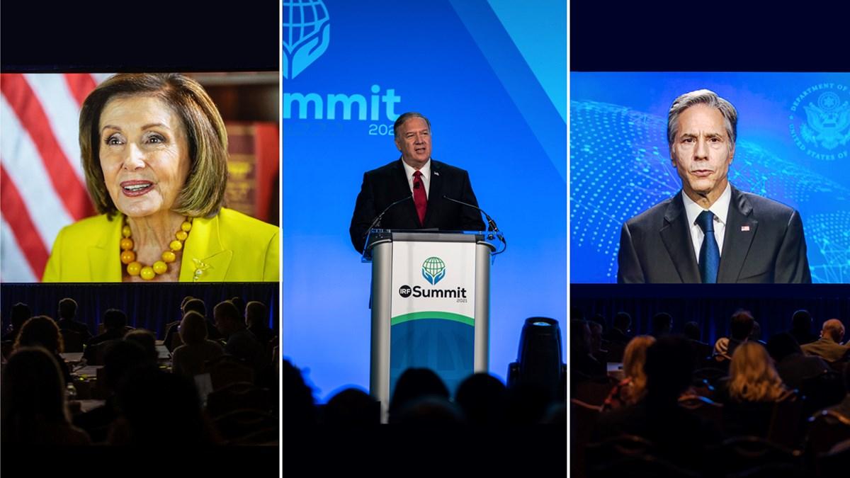 Speaker of the House Nancy Pelosi, former Secretary of State Mike Pompeo, and current Secretary of State Antony Blinken address the 2021 International Religious Freedom Summit in Washington.