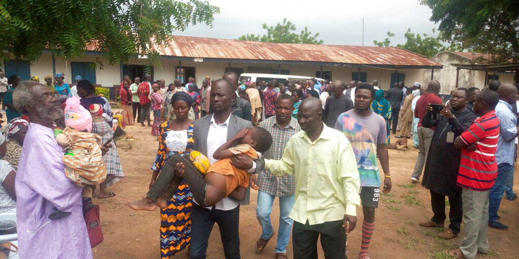 Parents are reunited with released students of the Bethel Baptist High School in Damishi, Nigeria, on Sunday, July 25.