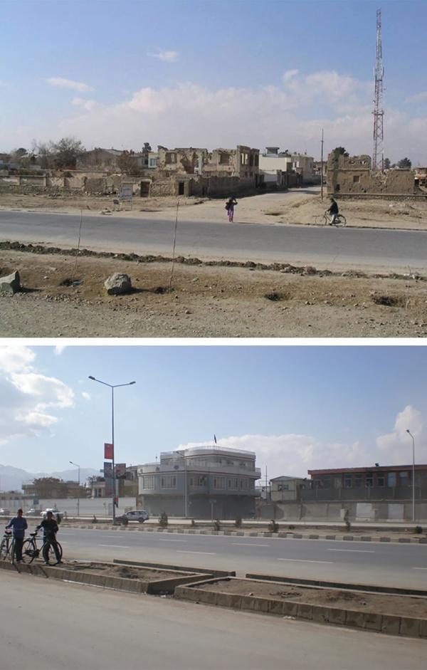 Una calle en Kabul cerca de la casa de la familia Loewen cuando llegaron en 2003 (arriba) y reconstruida diez años después (abajo).