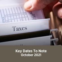Key Tax Dates October 2021