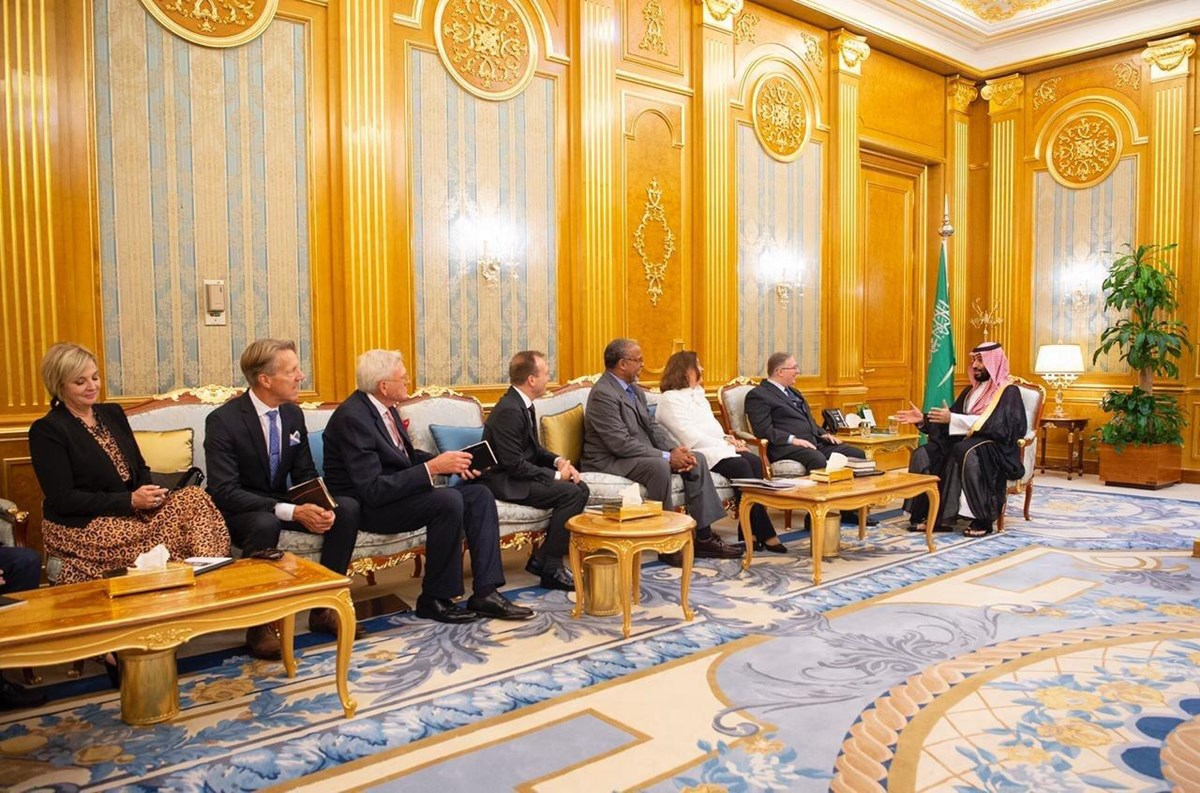 Crown Prince Mohamed bin Salman (right) hosts a delegation of American evangelicals in the Royal Court in Jeddah in September 2019.