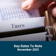 Key Tax Dates November 2021