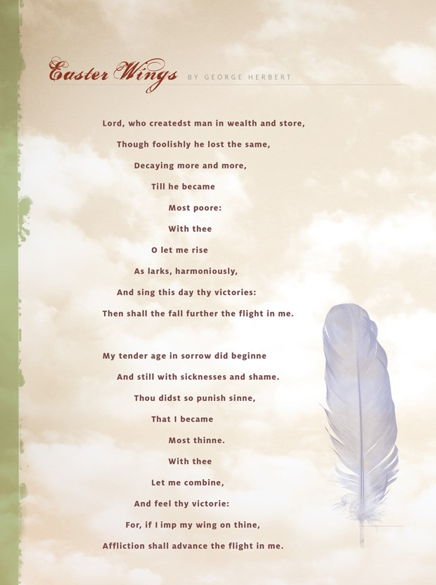 "easter wings george herbert Easter wings lyrics 19 employment-i lyrics 20 even-song lyrics 21 faith lyrics 22 about ""poems of george herbert""."