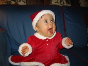 Penny's First Christmas, five years ago, when she thought Santa was super fun