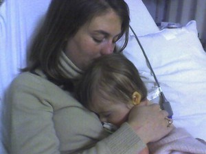 Penny in the hospital as a baby