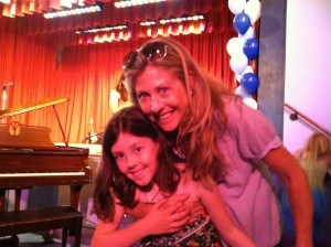 Sarah Reimers with her daughter Molly at the school talent show