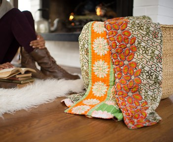 One of the kantha blankets the Hand & Cloth women have created