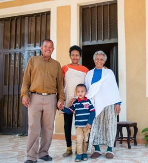 Solomon and Tirsit with their son Nigus and Tirsit's mother in Adama, Ethiopia