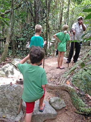 The Oxenreider kids exploring a rain forest in Australia