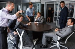Steve Carell, Ryan Gosling, Hamish Linklater, Jeremy Strong, Rafe Spall and Jeffry Griffin in 'The Big Short'