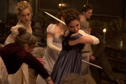 Bella Heathcote and Lily James in 'Pride and Prejudice and Zombies'