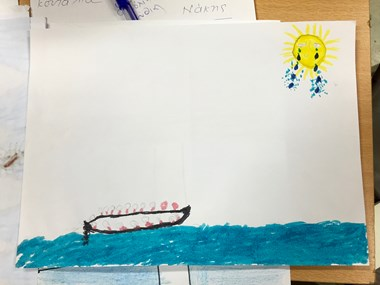 A refugee child's rendition of the dangerous sea crossing from Turkey to Greece.