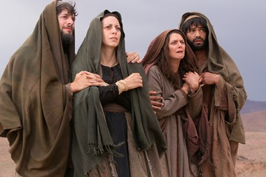 James the Just (far left) is standing next to Mary at the cross in this image from 'Killing Jesus.'