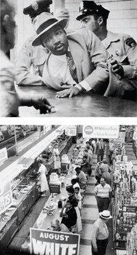 TOP: Dr. Martin Luther King Jr. being arrested, Montgomery, Alabama, 1958. Photo by AP   BOTTOM: Sit-in at Katz Drug Store, Oklahoma City, 1958. Photo by John Melton Collection / Oklahoma Historical Society