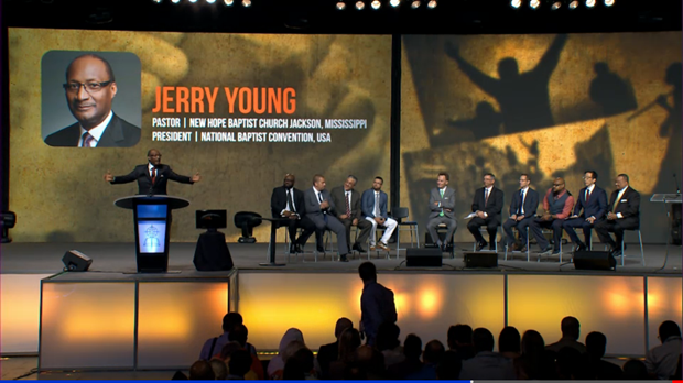 National Baptist Convention president Jerry Young addresses Southern Baptist messengers.