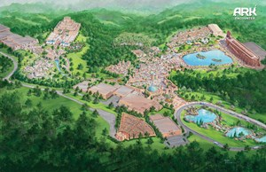 A painted depiction of the proposed expansions to the Ark Encounter theme park.