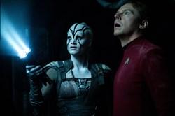 Sofia Boutella and Simon Pegg in 'Star Trek Beyond'