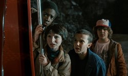 Caleb McLaughlin, Finn Wolfhard, Mille Bobby Brown, and Gaten Matarazzo in 'Stranger Things'