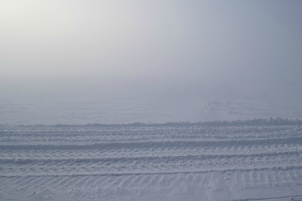 An ice road runs between Williams Airfield and NASA's Long Duration Balloon Site, both on the Ross Ice Shelf. McMurdo Station has several miles of permanent ice roads that must be groomed day and night by a dedicated team of heavy equipment operators.