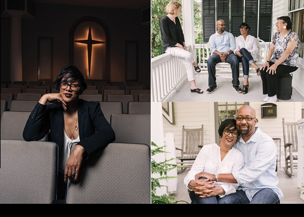 """Miea Walker, her husband Kevin, and mentors Debra Nash and Gail Carrington, whom she met while imprisoned, sit on Nash's porch. Kevin's reminders that """"prison is a microcosm of greater society"""" helped Miea foster a passion for those around her. """"I want them to realize that God really, truly loves them,"""" she says."""