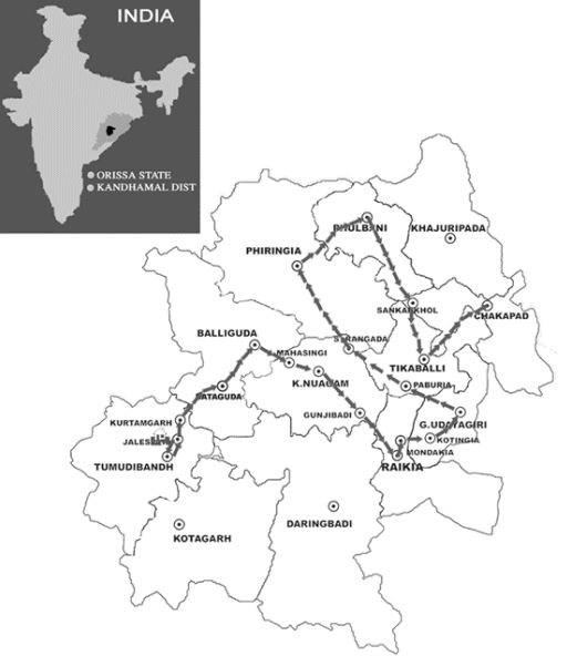 The route for Laxmanananda Saraswati's body