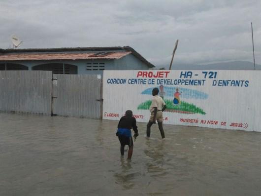 Flooding around a Compassion child development center in Haiti.
