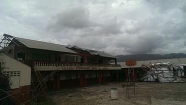 Damage to a Compassion child development center in southern Haiti.
