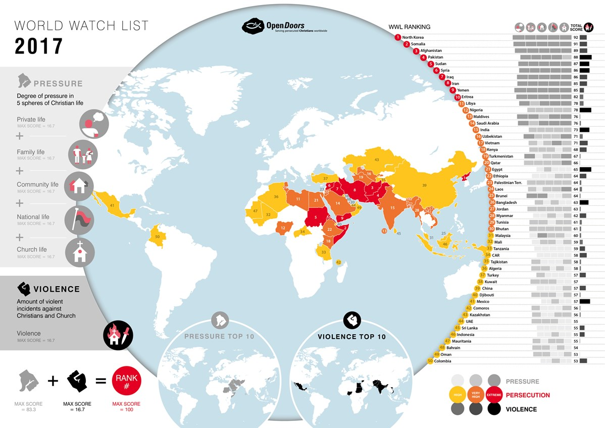 World Map Of Christians.The Top 50 Countries Where It S Most Dangerous To Follow J